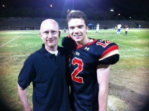 Author Brent Hartinger and actor Cameron Deane Stewart who played Russels on set.
